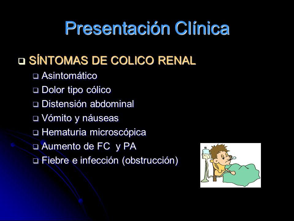Presentación Clínica SÍNTOMAS DE COLICO RENAL Asintomático