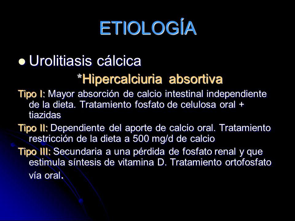 ETIOLOGÍA Urolitiasis cálcica *Hipercalciuria absortiva