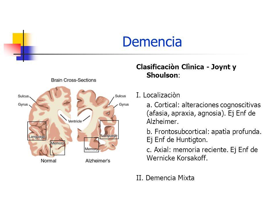 Demencia Clasificaciòn Clìnica - Joynt y Shoulson: I. Localizaciòn