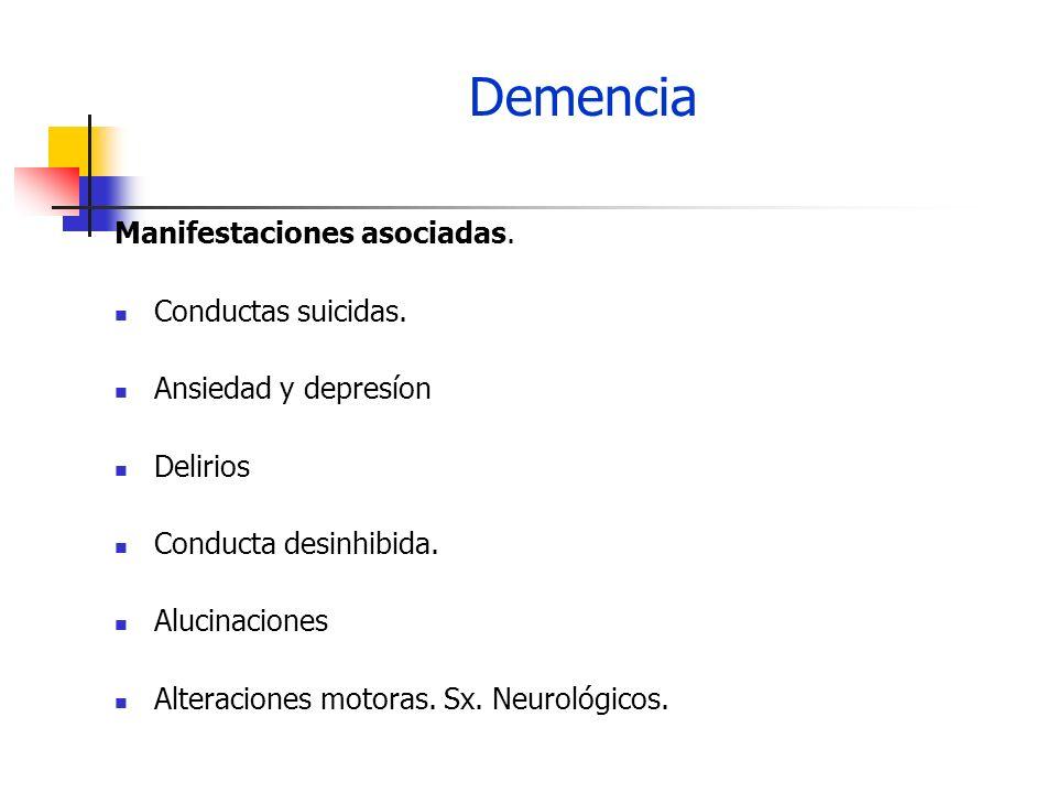 Demencia Manifestaciones asociadas. Conductas suicidas.