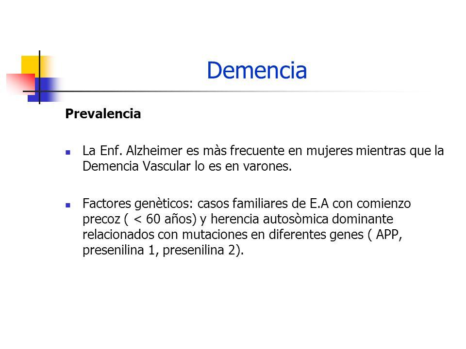 Demencia Prevalencia. La Enf. Alzheimer es màs frecuente en mujeres mientras que la Demencia Vascular lo es en varones.
