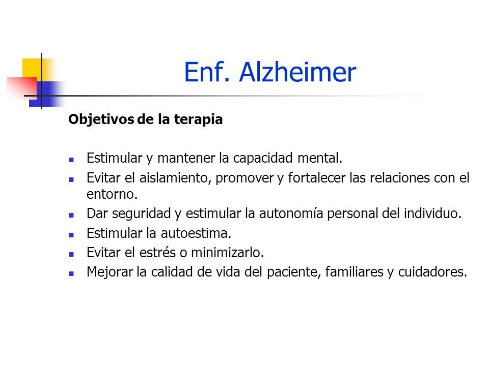 Enf. Alzheimer Objetivos de la terapia