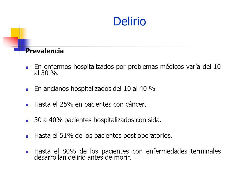 Delirio Prevalencia. En enfermos hospitalizados por problemas médicos varía del 10 al 30 %. En ancianos hospitalizados del 10 al 40 %