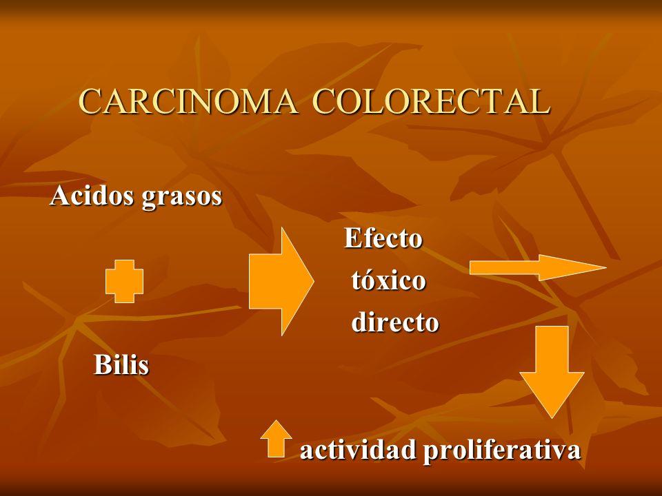 CARCINOMA COLORECTAL Acidos grasos Efecto tóxico directo Bilis
