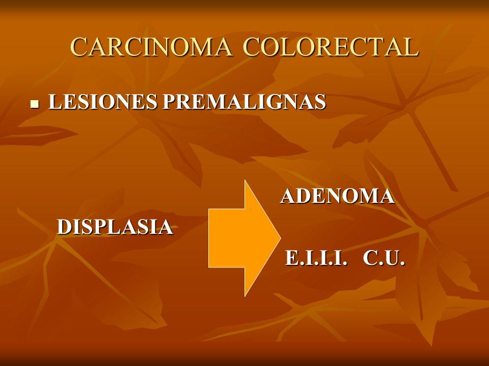 CARCINOMA COLORECTAL LESIONES PREMALIGNAS ADENOMA DISPLASIA