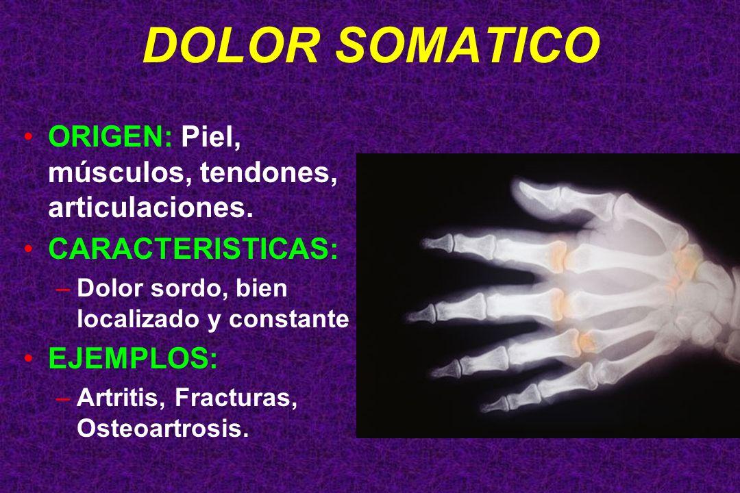 DOLOR SOMATICO ORIGEN: Piel, músculos, tendones, articulaciones.