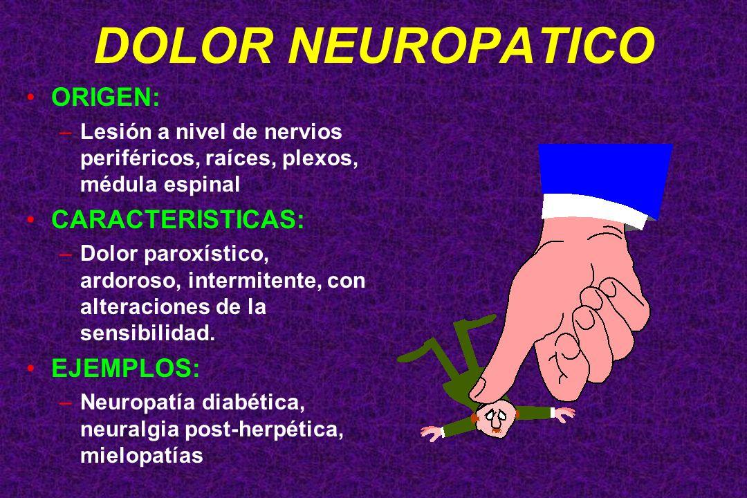DOLOR NEUROPATICO ORIGEN: CARACTERISTICAS: EJEMPLOS:
