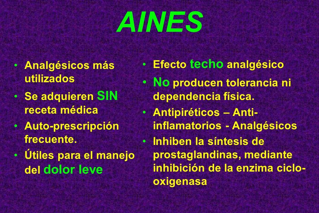 AINES No producen tolerancia ni dependencia física.