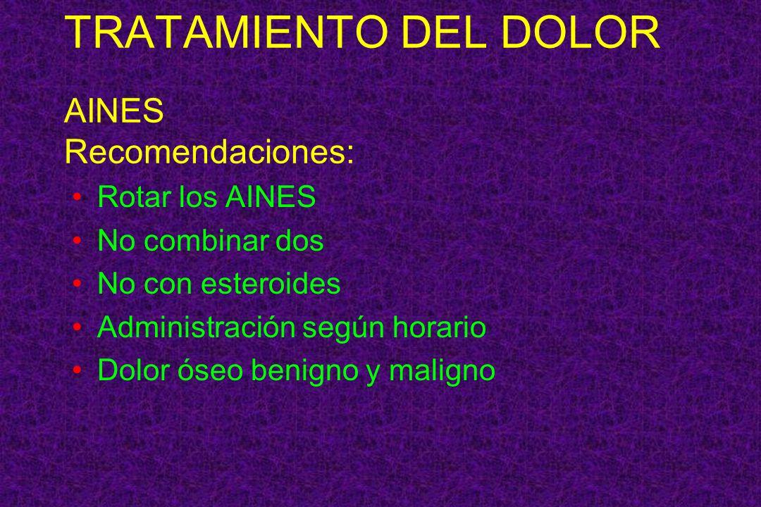 TRATAMIENTO DEL DOLOR AINES Recomendaciones: