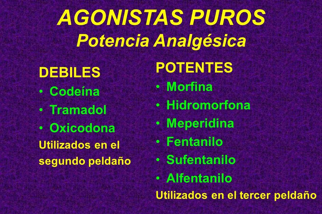 AGONISTAS PUROS Potencia Analgésica