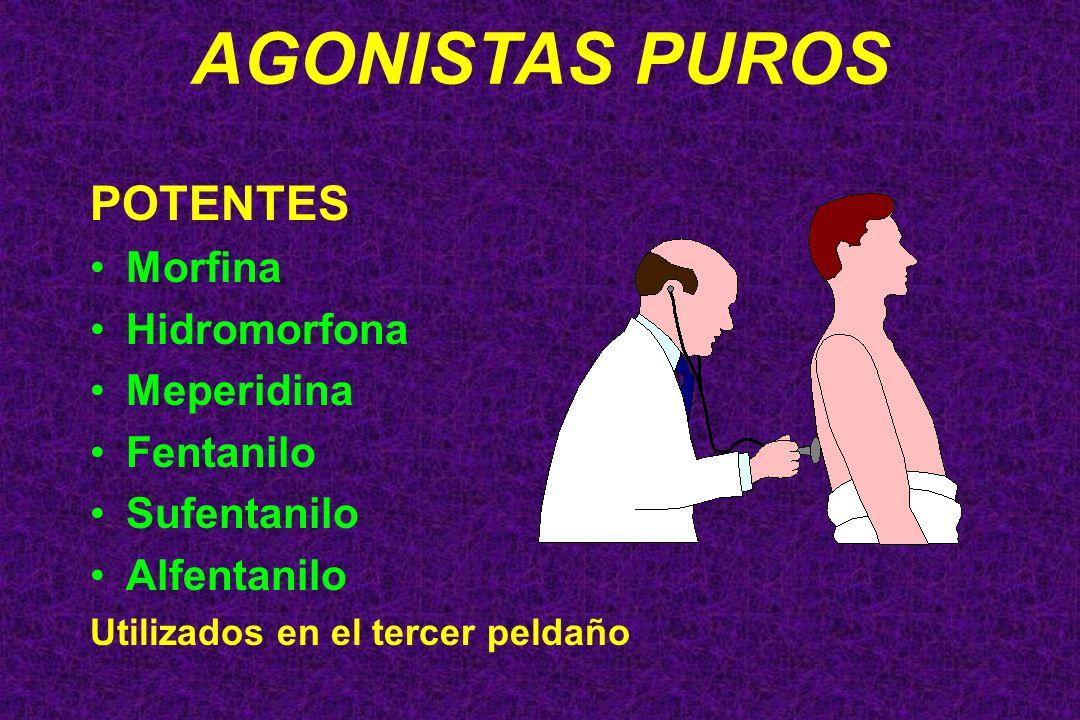 AGONISTAS PUROS POTENTES Morfina Hidromorfona Meperidina Fentanilo