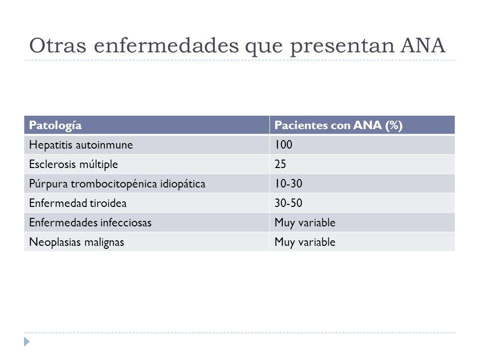 Otras enfermedades que presentan ANA