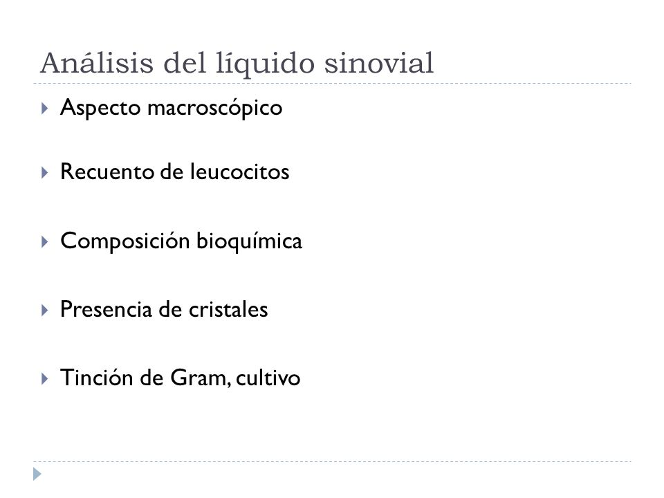 Análisis del líquido sinovial