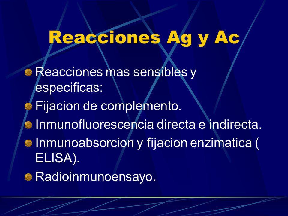 Reacciones Ag y Ac Reacciones mas sensibles y especificas: