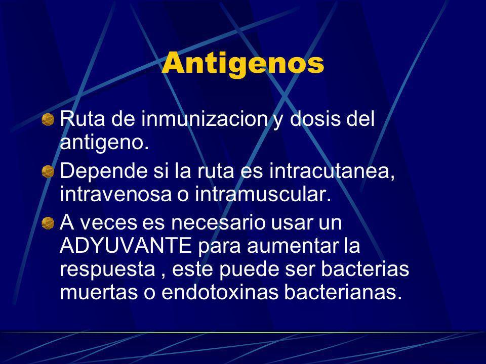 Antigenos Ruta de inmunizacion y dosis del antigeno.