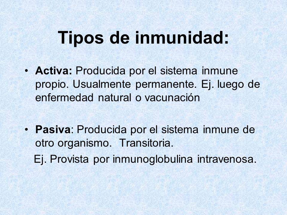 Tipos de inmunidad: Activa: Producida por el sistema inmune propio. Usualmente permanente. Ej. luego de enfermedad natural o vacunación.
