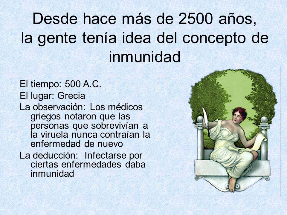 Desde hace más de 2500 años, la gente tenía idea del concepto de inmunidad