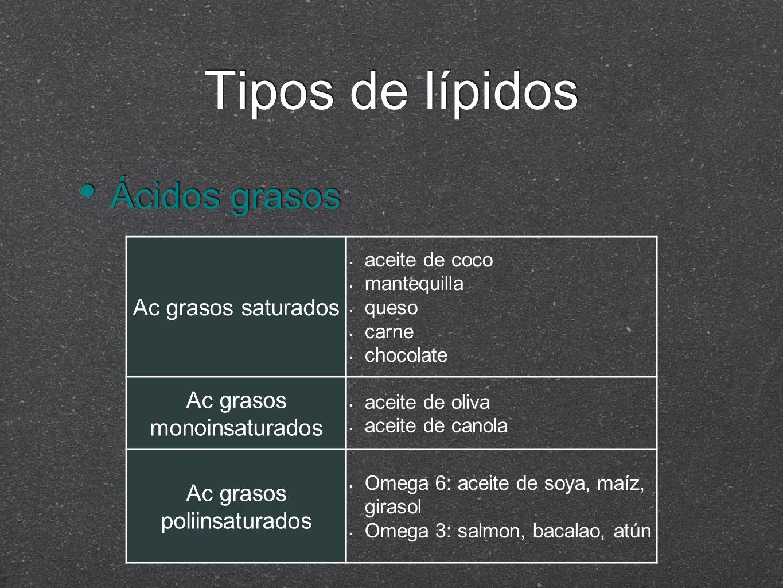 Tipos de lípidos Ácidos grasos Ac grasos saturados