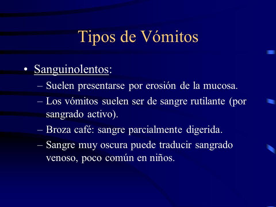 Tipos de Vómitos Sanguinolentos:
