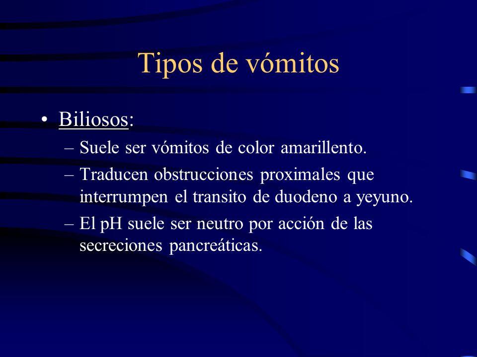 Tipos de vómitos Biliosos: Suele ser vómitos de color amarillento.