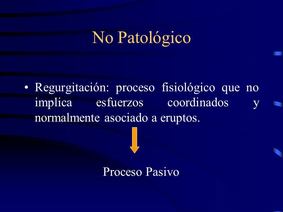 No Patológico Regurgitación: proceso fisiológico que no implica esfuerzos coordinados y normalmente asociado a eruptos.