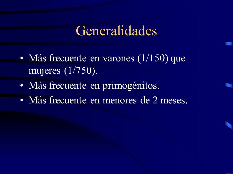 Generalidades Más frecuente en varones (1/150) que mujeres (1/750).
