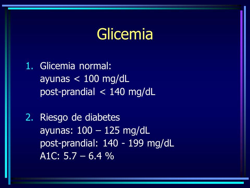 Glicemia Glicemia normal: ayunas < 100 mg/dL