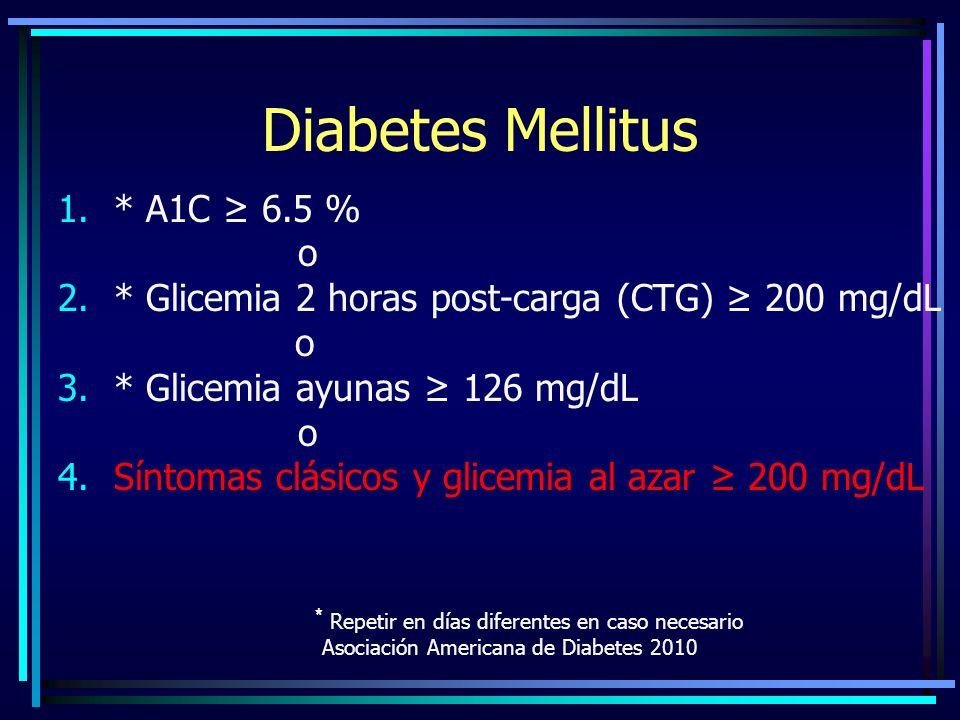 Diabetes Mellitus * A1C ≥ 6.5 % o
