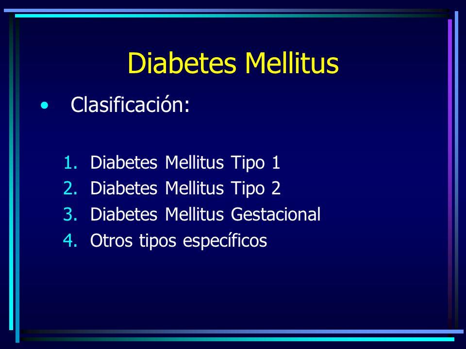 Diabetes Mellitus Clasificación: Diabetes Mellitus Tipo 1
