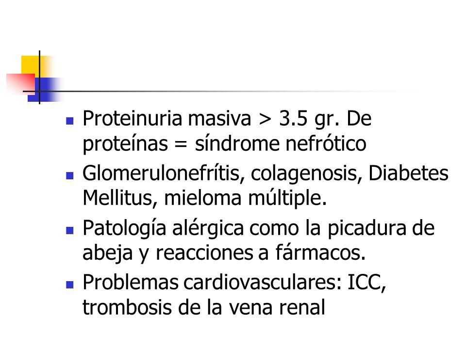 Proteinuria masiva > 3.5 gr. De proteínas = síndrome nefrótico