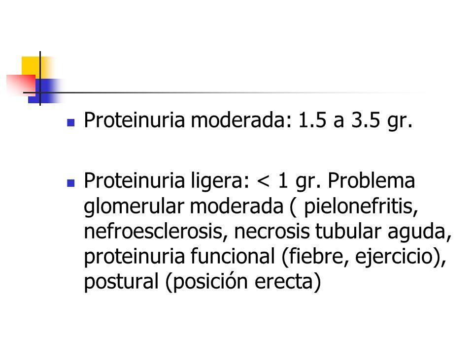 Proteinuria moderada: 1.5 a 3.5 gr.