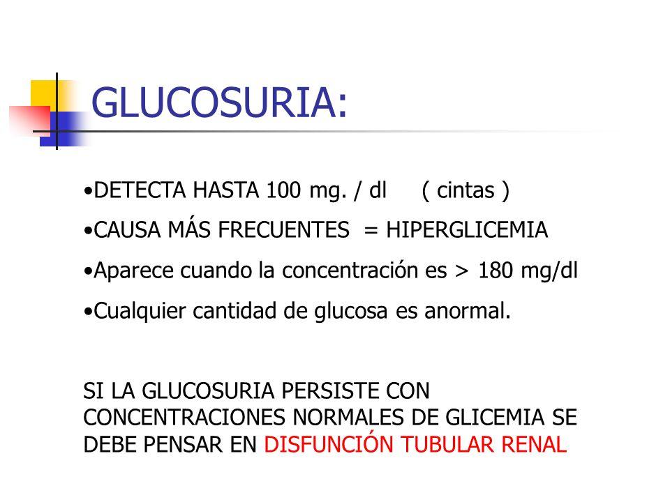 GLUCOSURIA: DETECTA HASTA 100 mg. / dl ( cintas )