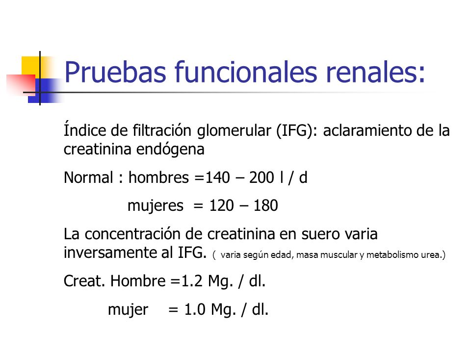 Pruebas funcionales renales: