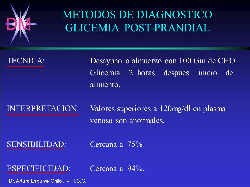 METODOS DE DIAGNOSTICO GLICEMIA POST-PRANDIAL