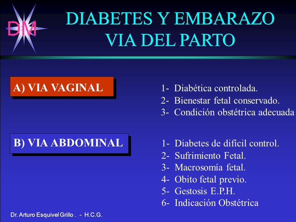 DIABETES Y EMBARAZO VIA DEL PARTO