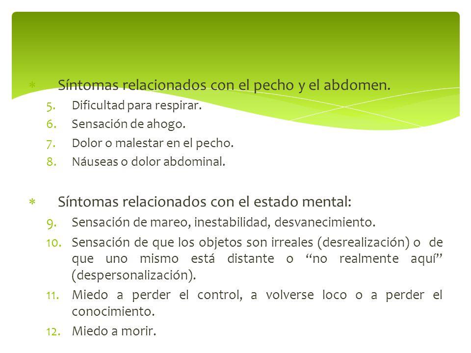 Síntomas relacionados con el pecho y el abdomen.