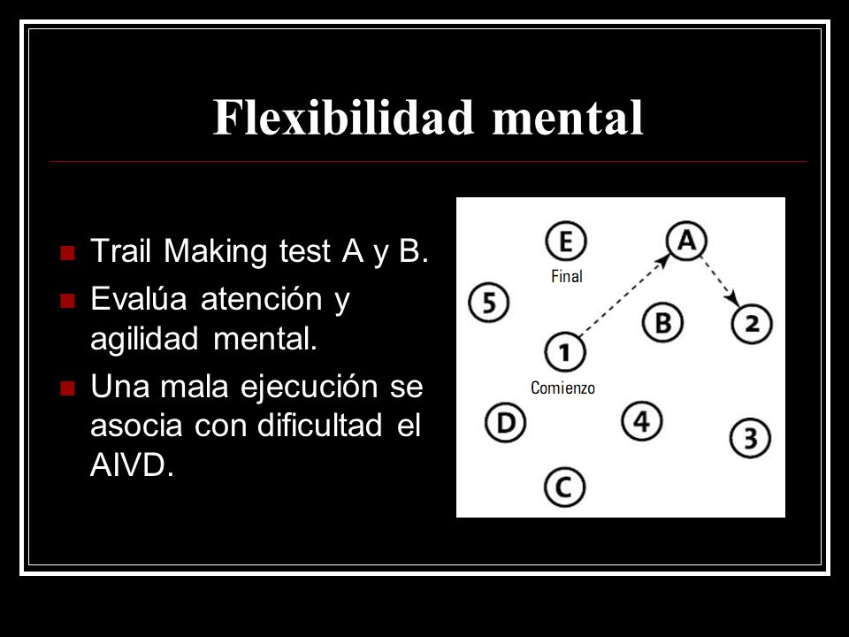 Flexibilidad mental Trail Making test A y B.