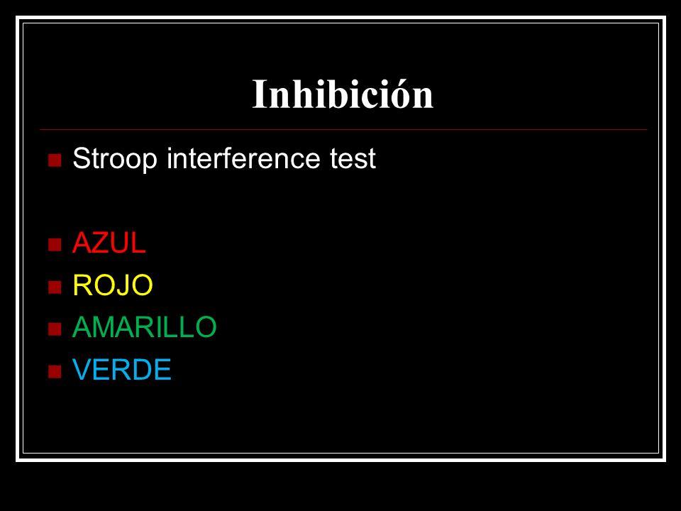 Inhibición Stroop interference test AZUL ROJO AMARILLO VERDE