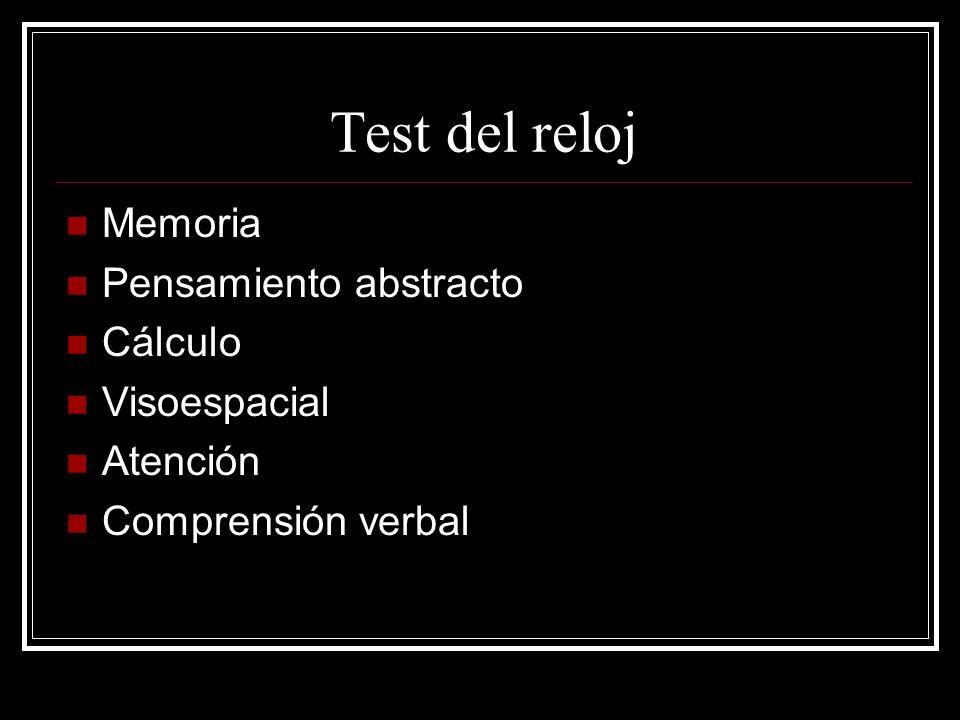 Test del reloj Memoria Pensamiento abstracto Cálculo Visoespacial