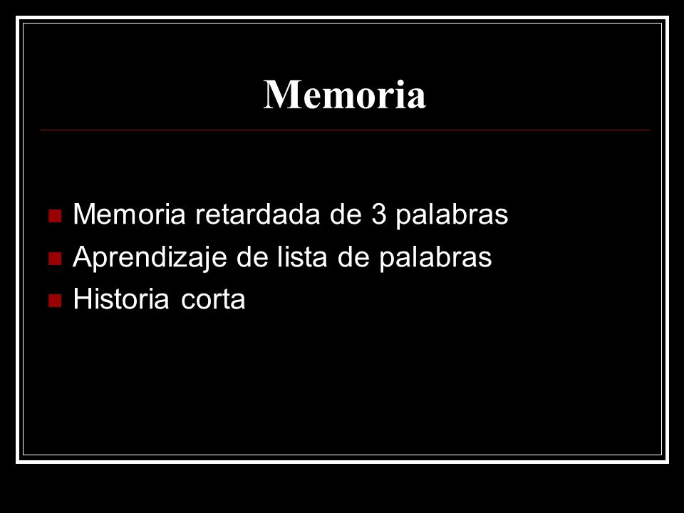Memoria Memoria retardada de 3 palabras