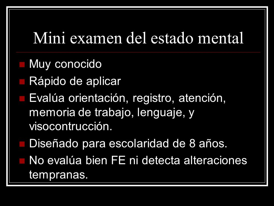 Mini examen del estado mental