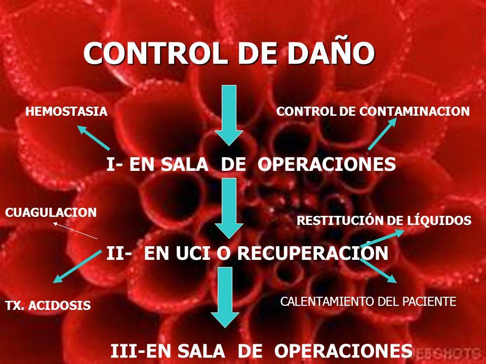 CONTROL DE DAÑO I- EN SALA DE OPERACIONES II- EN UCI O RECUPERACIÓN