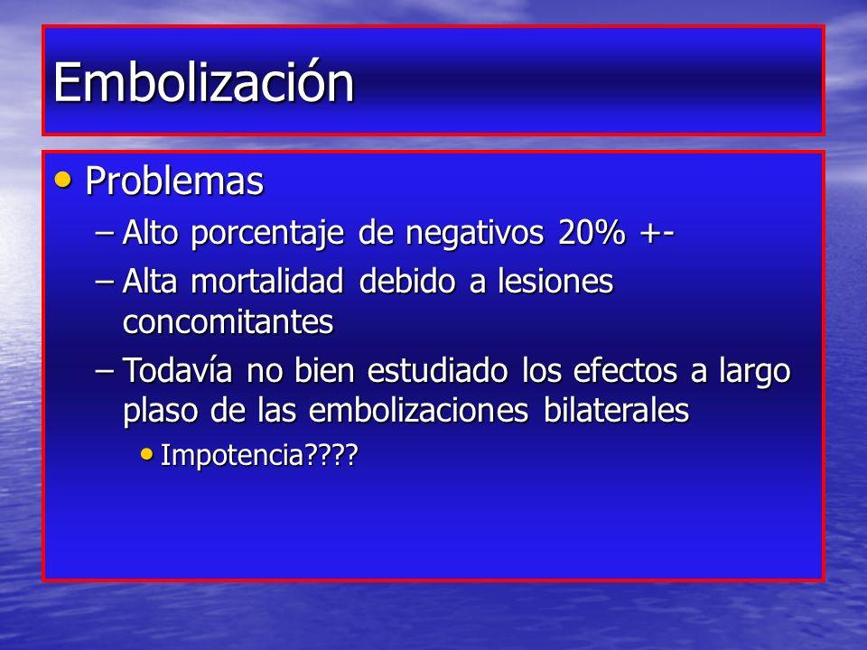 Embolización Problemas Alto porcentaje de negativos 20% +-