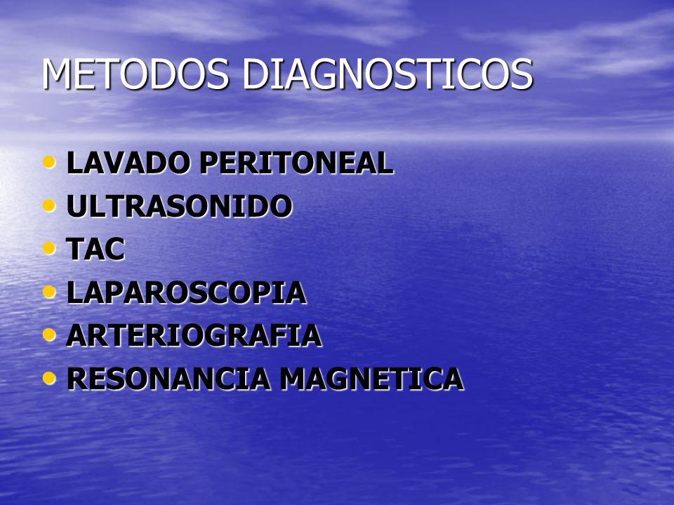 METODOS DIAGNOSTICOS LAVADO PERITONEAL ULTRASONIDO TAC LAPAROSCOPIA