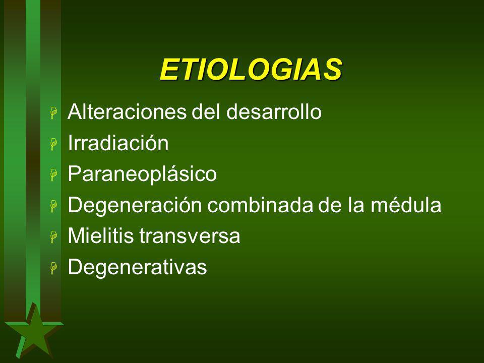 ETIOLOGIAS Alteraciones del desarrollo Irradiación Paraneoplásico