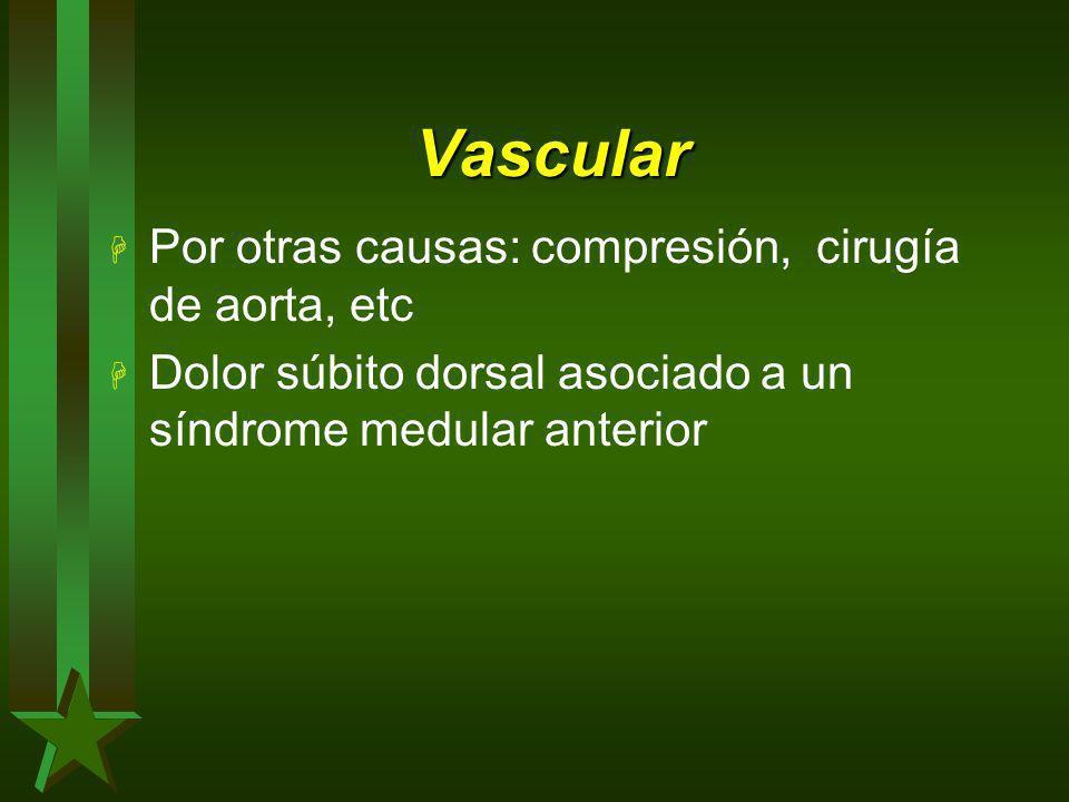 Vascular Por otras causas: compresión, cirugía de aorta, etc