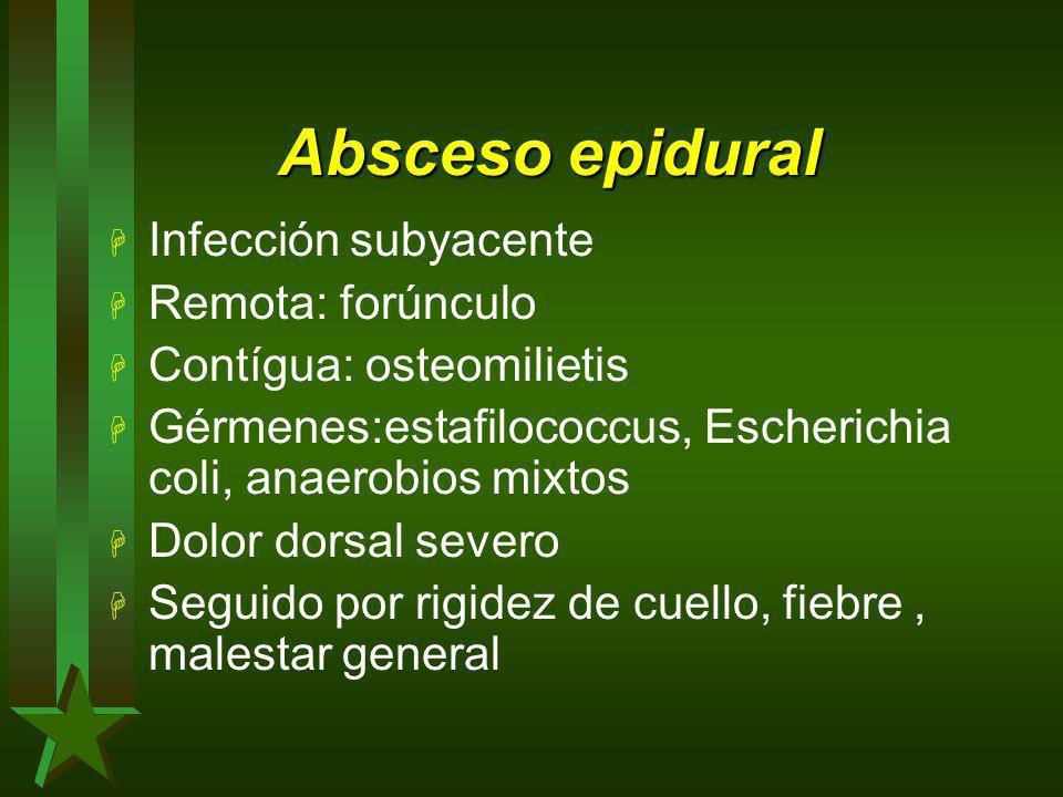 Absceso epidural Infección subyacente Remota: forúnculo