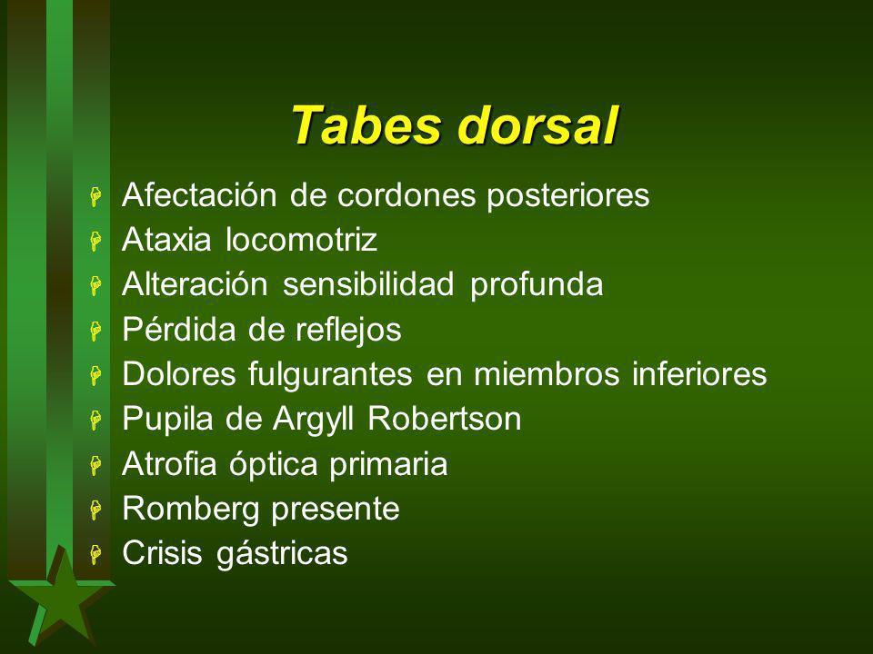 Tabes dorsal Afectación de cordones posteriores Ataxia locomotriz
