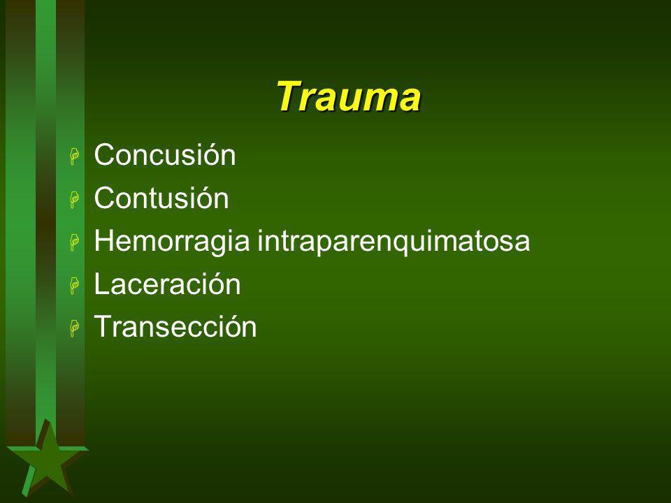 Trauma Concusión Contusión Hemorragia intraparenquimatosa Laceración