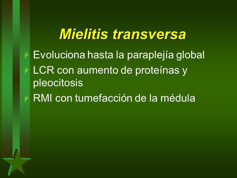 Mielitis transversa Evoluciona hasta la paraplejía global